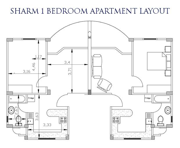 Sharm el Sheikh 1 bed layout