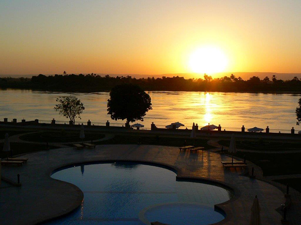 Luxor sunset from our resort in Luxor