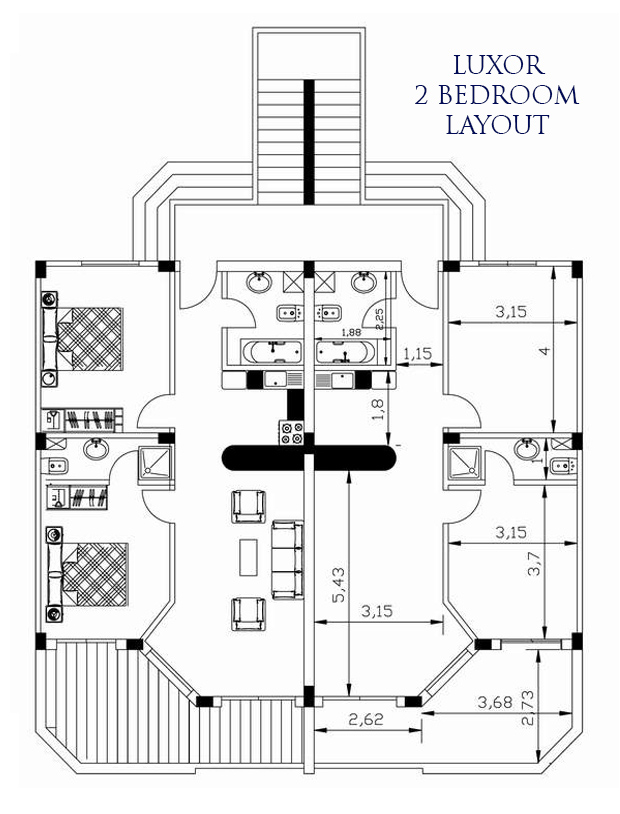 Luxor 2 bed layout