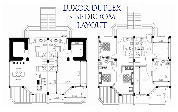 Luxor 3 bed duplex layout