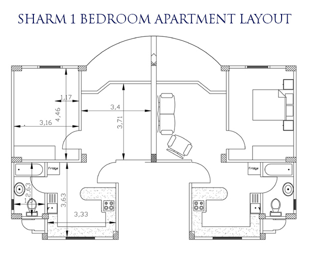 Sharm el Sheikh 1 bed layout